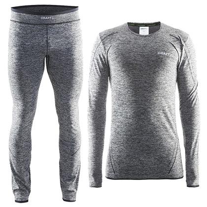 CRAFT 夸夫特 绿标舒适保暖内衣 男款套装 黑灰色(套装组合,更加温暖)