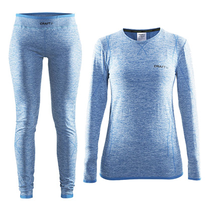 CRAFT 夸夫特 绿标舒适保暖内衣 女款套装 轻快蓝(套装组合,更加温暖)