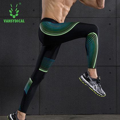 范斯蒂克 男款紧身裤 速干弹力跑步长裤 MBF008 蓝绿流光(锁住肌肉,流光溢彩)