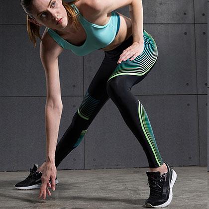 范斯蒂克 女款紧身裤 速干弹力跑步长裤 FBF010 蓝绿流光(锁住肌肉,流光溢彩)