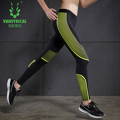 范斯蒂克 女款紧身裤 速干弹力跑步长裤 FBF024 黄色流光(锁住肌肉,流光溢彩)