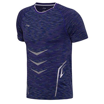 李宁比赛上衣 AAYM141-2 贴身型 男款 电光紫花纱