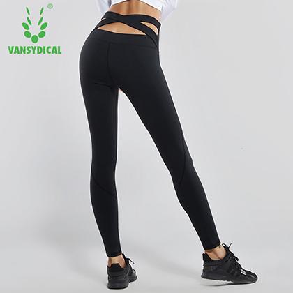 范斯蒂克 女款高腰后交叉紧身裤 弹力裤 瑜伽裤 黑色(亲肤柔软,弹力提臀)
