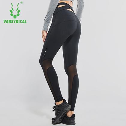 范斯蒂克 女款高腰后交叉紧身裤 弹力裤 瑜伽裤 黑色拼网(亲肤柔软,弹力提臀)