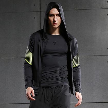 范斯蒂克 男款速干衣 速干弹力跑步长袖 健身服 MBF72805 黄色流光(轻盈透气,流光溢彩)