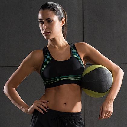 范斯蒂克 速干跑步胸衣 健身运动文胸 FBF70402 蓝绿流光(包裹支撑,高强度防震)