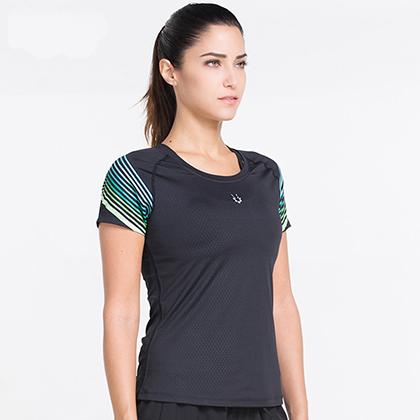 范斯蒂克 女款紧身衣 速干跑步健身短袖 FBF70202 蓝绿流光(锁肌保护,流光溢彩)