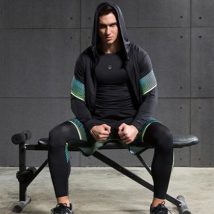 范斯蒂克 男款流光四件套 跑步套装 健身套装 蓝绿流光(全季度跑步套装)