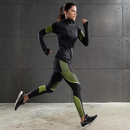 范斯蒂克 女款流光衣四件套 跑步套装 健身套装 黄色流光(全季度跑步套装)
