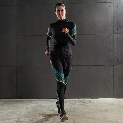 范斯蒂克 女款流光衣四件套 跑步套装 健身套装 蓝绿流光(全季度跑步套装)