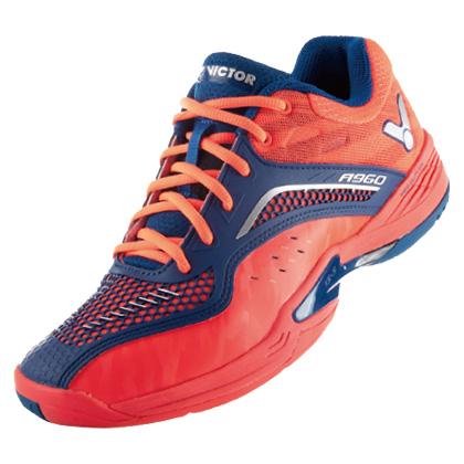 胜利VICTOR 羽毛球鞋 A960-DF 全面型 番茄红/标准蓝(舒适,稳定)