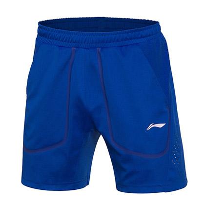 李宁羽毛球比赛服AAPM003-2 男款 晶蓝色(2017全英赛比赛短裤)