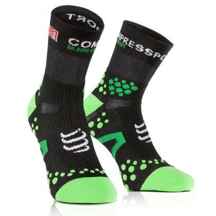 康普波斯 Compressport 3D豆 跑步 V2.1 高帮袜 Socks V2.1 RUN HI 黑底绿点