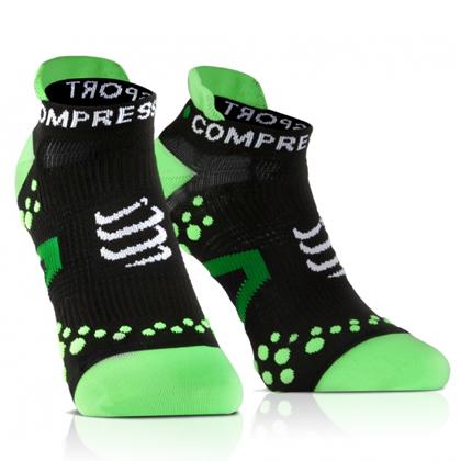 康普波斯 Compressport 3D豆 跑步 V2.1 低帮袜 Socks V2.1 RUN LO 黑底绿点