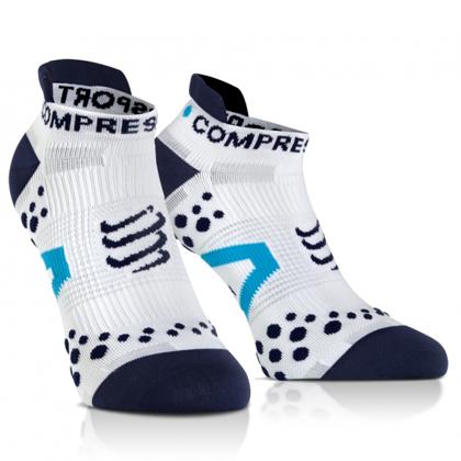 康普波斯 Compressport 3D豆 跑步 V2.1 低帮袜 Socks V2.1 RUN LO 白底蓝点