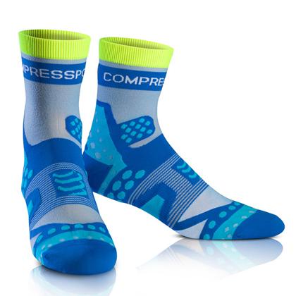 康普波斯 Compressport 3D豆 超轻跑步高帮袜 Socks UL RUN HI 蓝