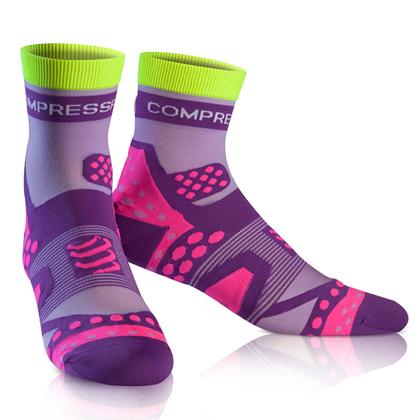 康普波斯 Compressport 3D豆 超轻跑步高帮袜 Socks UL RUN HI 紫