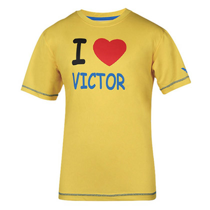 威克多VICTOR 吸汗速干圆领运动衫短袖T恤(英文口号:我爱胜利!)T-6023E 中性款 明黄色