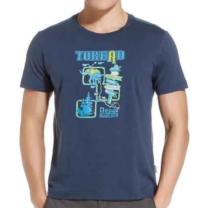 探路者Toread 短袖T恤 TAJE81704-C27X 男式 铁蓝灰