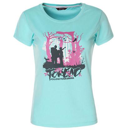 探路者Toread 短袖功能T恤 TAJC82292-C13X 女式 粉蓝