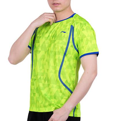 李宁羽毛球服 AAYM001-3男款比赛上衣 荧光绿(AT DRY吸湿排汗)