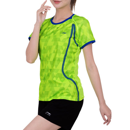 李宁羽毛球服 AAYM002-3女款比赛上衣 荧光绿(AT DRY吸湿排汗)