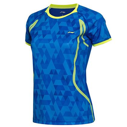 李宁羽毛球服 AAYM002-2女款比赛上衣 晶蓝色(AT DRY吸湿排汗)