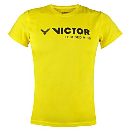 胜利VICTOR短袖T恤 T-6127E 女款 明黄色(吸汗速干圆领运动衫)