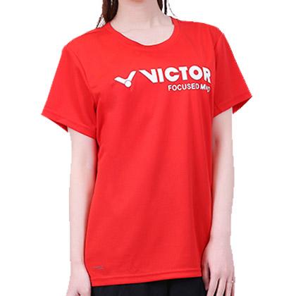 胜利VICTOR短袖T恤 T-6127D  女款 鲜红色(吸汗速干圆领运动衫)