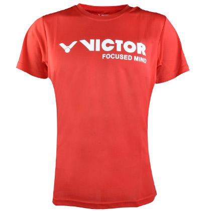 胜利VICTOR短袖T恤 T-6027D 中性款 鲜红色(吸汗速干圆领运动衫)