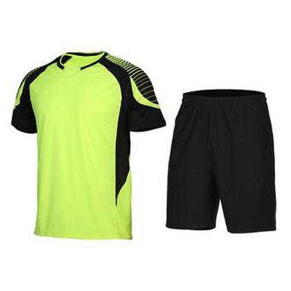 范斯蒂克 男款短袖跑步服 速干运动套装 荧光绿拼黑色(渐变印花,漫威主角既视感)