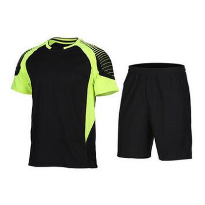 范斯蒂克 男款短袖跑步服 速干運動套裝 黑拼熒光綠(漸變印花,漫威主角既視感)