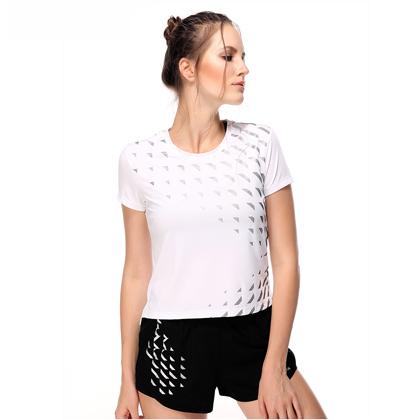 范斯蒂克 女款跑步套装 速干运动套装 白色短袖+黑色短裤(独特反光印花,运动中的时尚风)