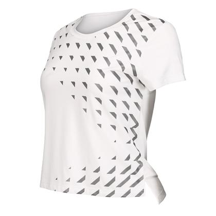 范斯蒂克 女款跑步短袖 速干跑步上衣 白色印反光银(运动中的时尚风)