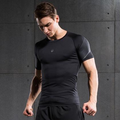 范斯蒂克 男款紧身衣 速干跑步健身短袖 MBF72603 浅灰流光(锁肌保护,流光溢彩)