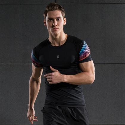 范斯蒂克 男款紧身衣 速干跑步健身短袖 MBF72601 红蓝流光(锁肌保护,流光溢彩)