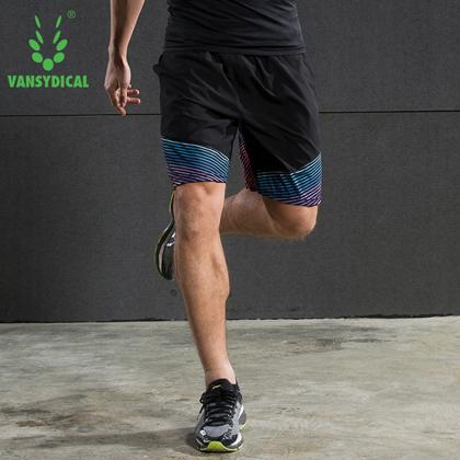 范斯蒂克 男款跑步健身短裤 速干跑步短裤 MBF70505 红蓝流光(轻如蝉翼,速干透气)?