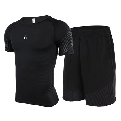 范斯蒂克 男款流光跑步健身套装 浅灰流光紧身衣+宽松短裤 (锁肌保护,轻如蝉翼)
