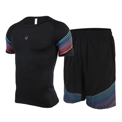 范斯蒂克 男款流光跑步健身套装 红蓝流光紧身衣+宽松短裤 (锁肌保护,轻如蝉翼)