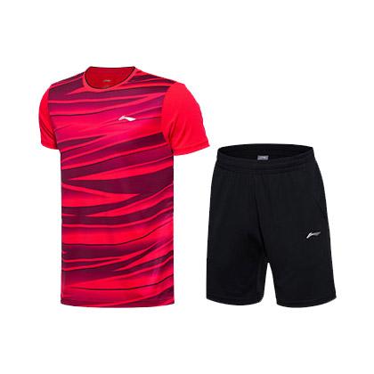 李宁 羽毛球服套装 AATM033-2 男款 荧光焰红+标准黑