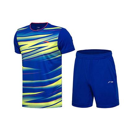 李宁 羽毛球服套装 AATM033-4 男款 亮晶蓝+亮晶蓝