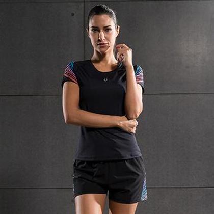 范斯蒂克 女款流光跑步健身套装 红蓝流光紧身衣+宽松短裤 (锁肌保护,轻如蝉翼)