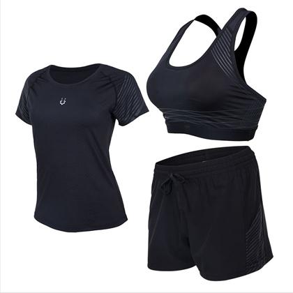 范斯蒂克 跑步套装 健身套装 女款流光三件套 浅灰流光紧身衣+短裤+胸衣