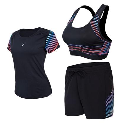 范斯蒂克 跑步套装 健身套装 女款流光三件套 红蓝流光紧身衣+短裤+胸衣