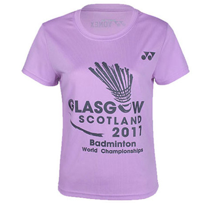 尤尼克斯YONEX运动T恤 YOBC6036CR 女款 浅紫(2017世锦赛纪念T恤)