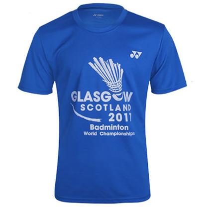 尤尼克斯YONEX运动T恤 YOBC6035CR 男款 蓝色(世锦赛纪念T恤)