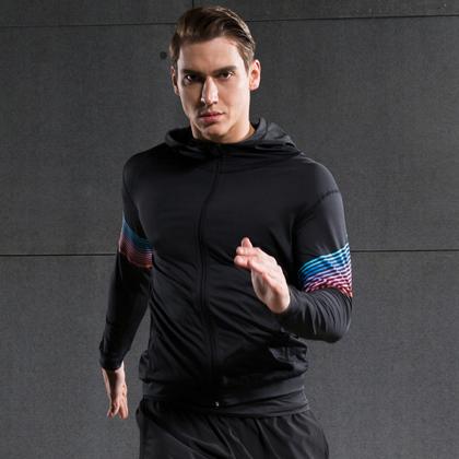 范斯蒂克 男款速干衣 速干弹力跑步长袖 健身服MBF72801 红蓝流光(轻盈透气,流光溢彩)