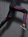 范斯蒂克 男款紧身裤 速干弹力跑步长裤 健身裤 MBF007 红蓝流光(锁肌保护,流光溢彩)
