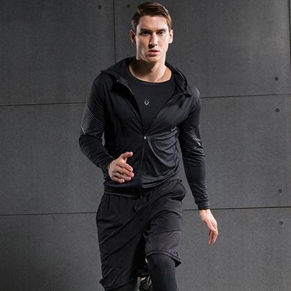 範斯蒂克 男款流光四件套 跑步套裝 健身套裝 淺灰流光(全季度跑步套裝)