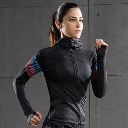 范斯蒂克 秋冬季长袖健身服运动跑步长袖 健身服FBF70101 红蓝流光(轻盈透气,流光溢彩)